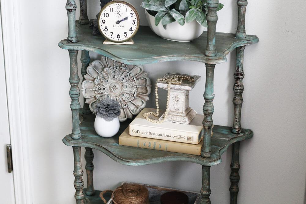 a weathered vintage shelf